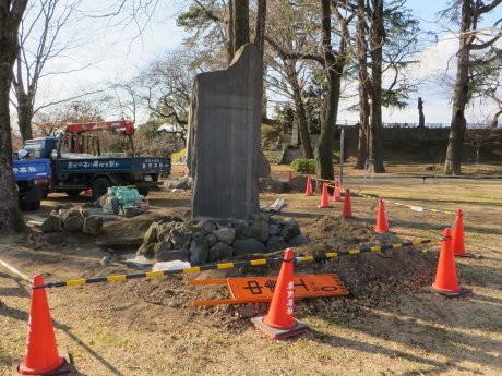 楫取素彦功徳碑と宮崎有敬翁紀功之碑が前橋公園に移設