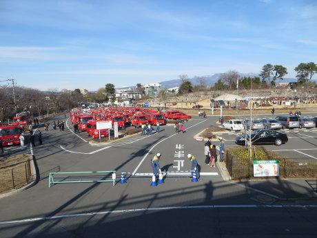 前橋市消防隊出初め式のはしご乗り