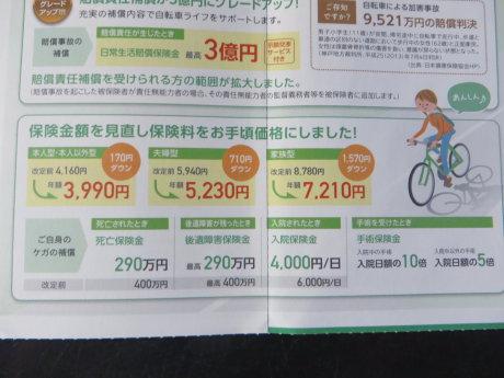自転車保険の更新しました