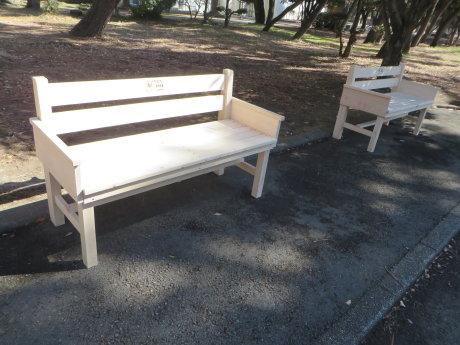 敷島公園に群馬県産のベンチ