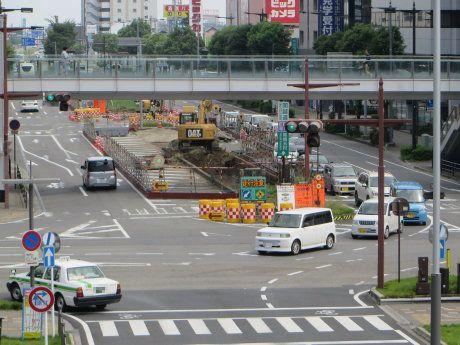 高崎駅東口ではペデストリアンデッキ工事