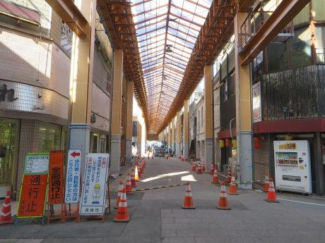 高崎中央銀座のアーケードは完成間近