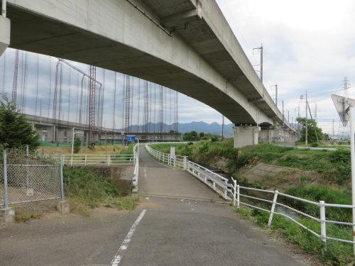 井野川サイクリングロードと人道橋は平面交差